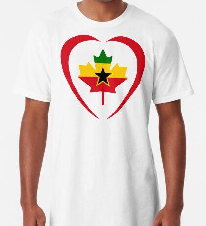 Ghanaian Canadian Multinational Patriot Flag Series (Heart) Long T-Shirt