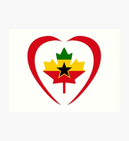 Ghanaian Canadian Multinational Patriot Flag Series (Heart) Art Print