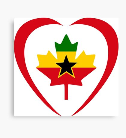 Ghanaian Canadian Multinational Patriot Flag Series (Heart) Canvas Print