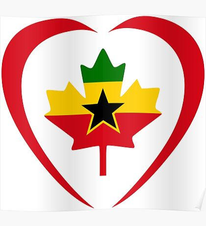 Ghanaian Canadian Multinational Patriot Flag Series (Heart) Poster