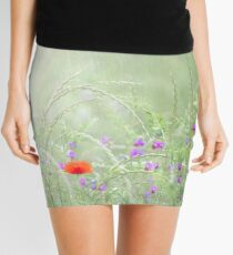 Rain on Poppies and Sweet Peas Mini Skirt