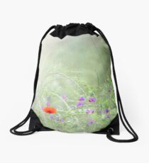 Rain on Poppies and Sweet Peas Drawstring Bag