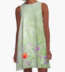 Rain on Poppies and Sweet Peas A-Line Dress