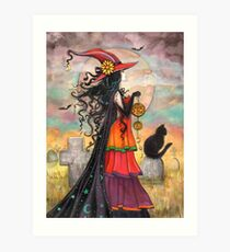 Witch Way Halloween Witch and Black Cat Fantasy Art Art Print