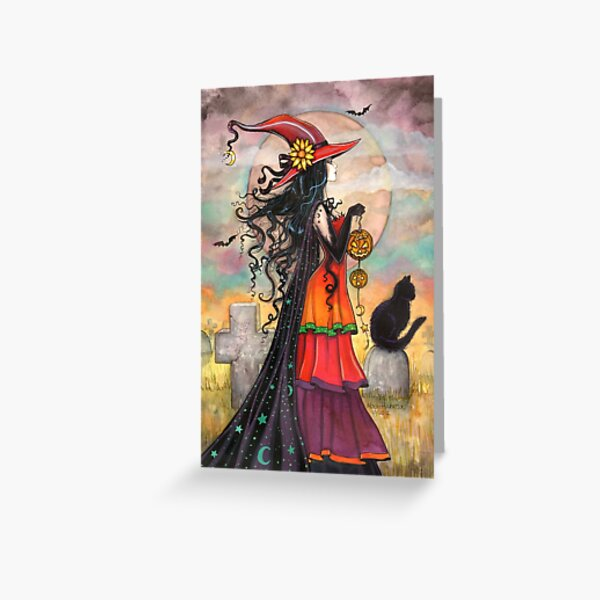 Witch Way Halloween Witch and Black Cat Fantasy Art Greeting Card