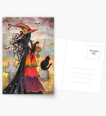 Witch Way Halloween Witch and Black Cat Fantasy Art Postcards