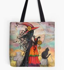 Bolsa de tela Witch Way Halloween Witch y Black Cat Fantasy Art