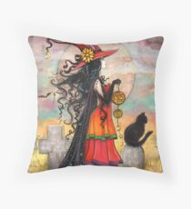Witch Way Halloween Witch and Black Cat Fantasy Art Throw Pillow