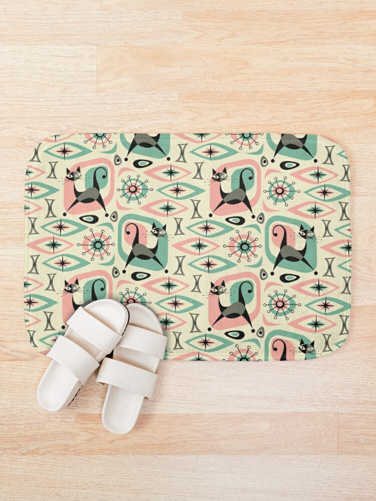 Alternate view of Mid Century Cat Abstract Bath Mat
