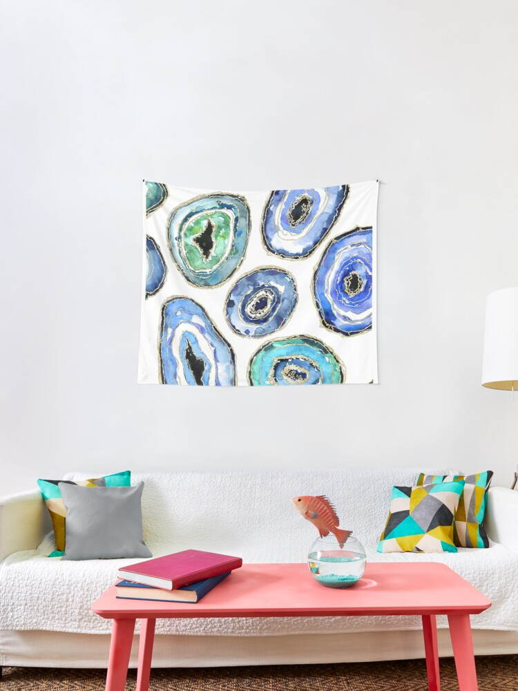 Watercolor Geodes In Teal Blue Green Ang Gold Tapestry By Blursbyai Redbubble