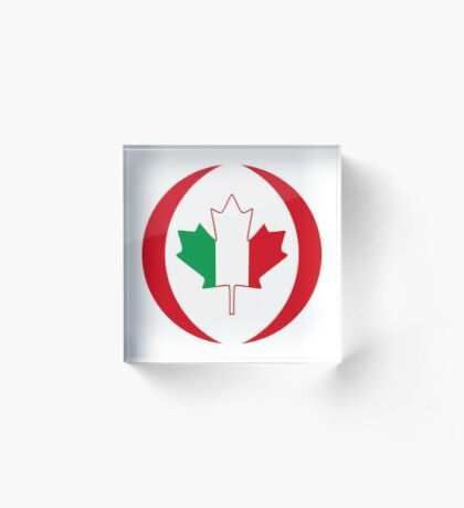 Italian Canadian Multinational Patriot Flag Series Acrylic Block