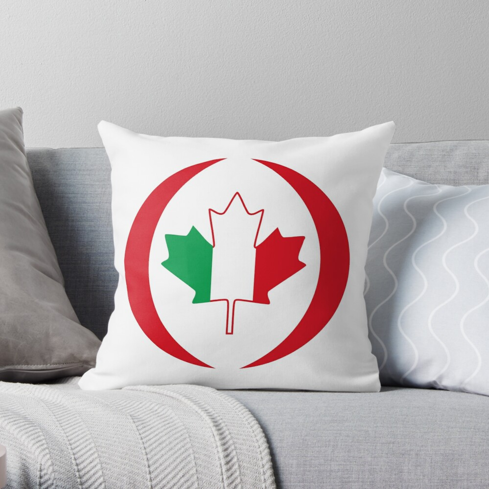 Italian Canadian Multinational Patriot Flag Series Throw Pillow