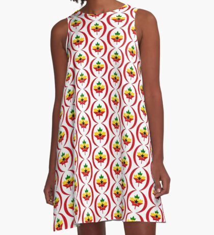 Ghanaian Canadian Multinational Patriot Flag Series A-Line Dress