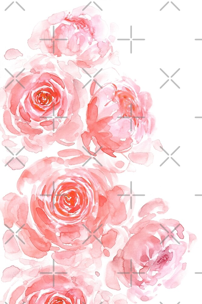 Dreamy pink watercolor peonies by blursbyai
