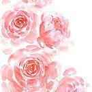 Träumerische rosa Aquarellpfingstrosen von blursbyai