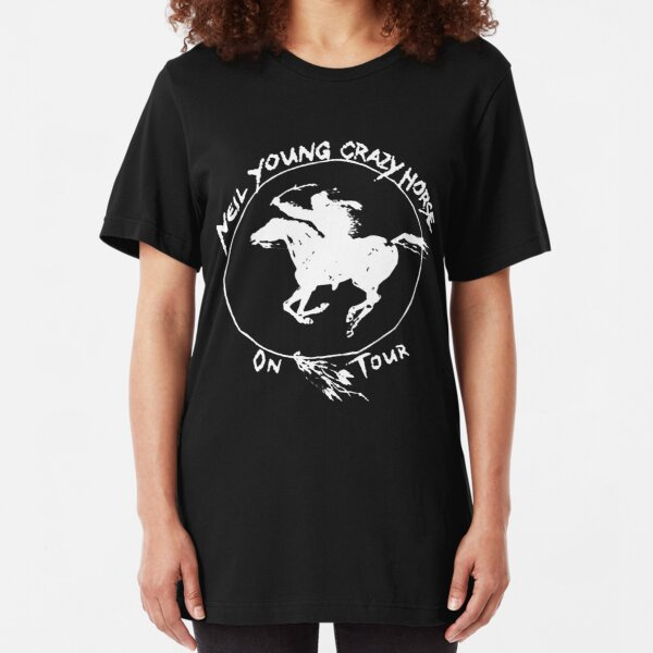 neil crazy tour young horse 2019 atinista black Slim Fit T-Shirt