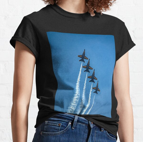 Four Navy Blue Angels Acrobat Planes Flying Straight Up Classic T-Shirt