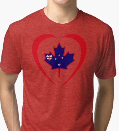 Kiwi Canadian Multinational Patriot Flag Series (Heart) Tri-blend T-Shirt