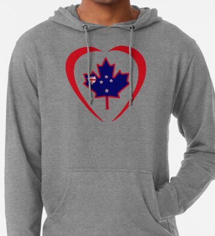 Kiwi Canadian Multinational Patriot Flag Series (Heart) Lightweight Hoodie