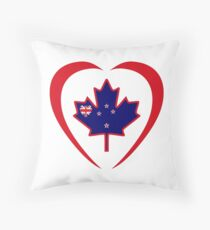 Kiwi Canadian Multinational Patriot Flag Series (Heart) Throw Pillow