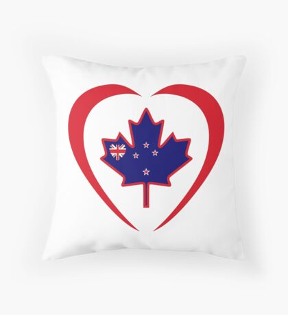 Kiwi Canadian Multinational Patriot Flag Series (Heart) Throw Pillow