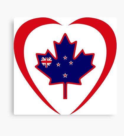 Kiwi Canadian Multinational Patriot Flag Series (Heart) Canvas Print
