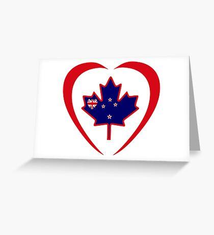 Kiwi Canadian Multinational Patriot Flag Series (Heart) Greeting Card