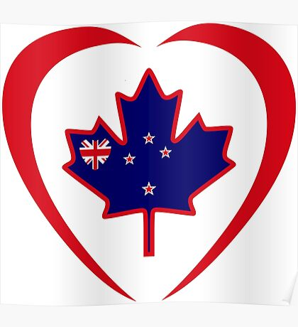 Kiwi Canadian Multinational Patriot Flag Series (Heart) Poster