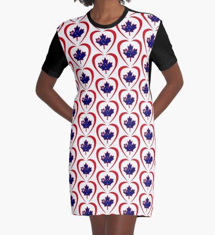 Kiwi Canadian Multinational Patriot Flag Series (Heart) Graphic T-Shirt Dress