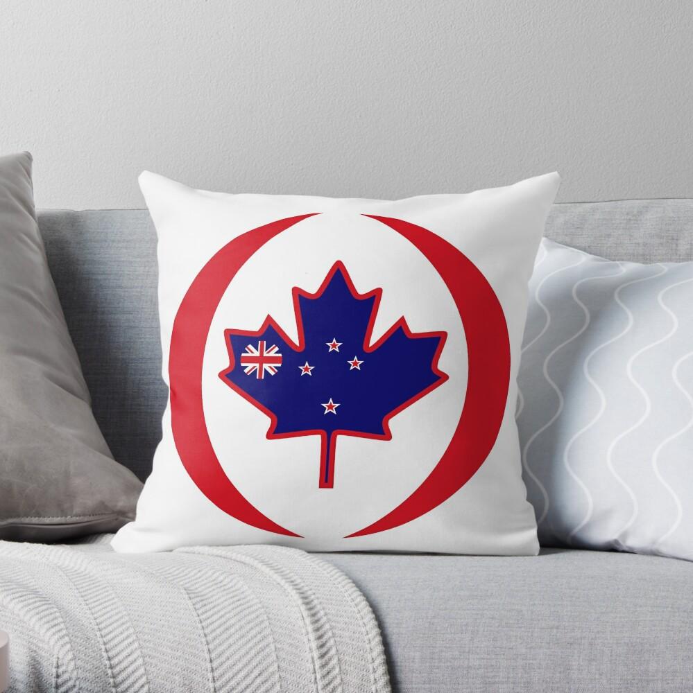 Kiwi Canadian Multinational Patriot Flag Series Throw Pillow