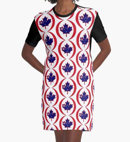 Kiwi Canadian Multinational Patriot Flag Series Graphic T-Shirt Dress
