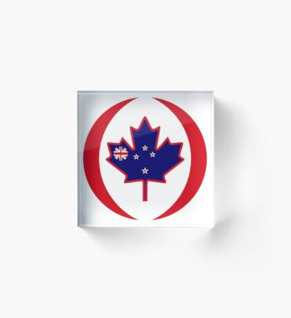 Kiwi Canadian Multinational Patriot Flag Series Acrylic Block