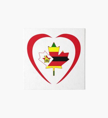 Zimbabwean Canadian Multinational Patriot Flag Series (Heart) Art Board Print