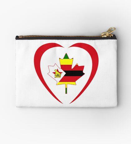 Zimbabwean Canadian Multinational Patriot Flag Series (Heart) Zipper Pouch