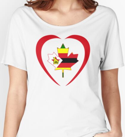 Zimbabwean Canadian Multinational Patriot Flag Series (Heart) Relaxed Fit T-Shirt