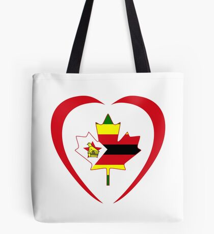 Zimbabwean Canadian Multinational Patriot Flag Series (Heart) Tote Bag