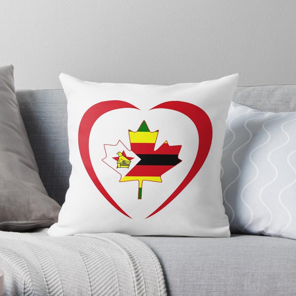 Zimbabwean Canadian Multinational Patriot Flag Series (Heart) Throw Pillow