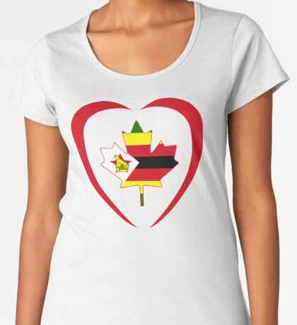 Zimbabwean Canadian Multinational Patriot Flag Series (Heart) Premium Scoop T-Shirt