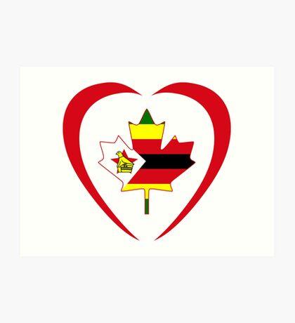 Zimbabwean Canadian Multinational Patriot Flag Series (Heart) Art Print