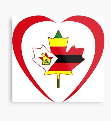 Zimbabwean Canadian Multinational Patriot Flag Series (Heart) Metal Print