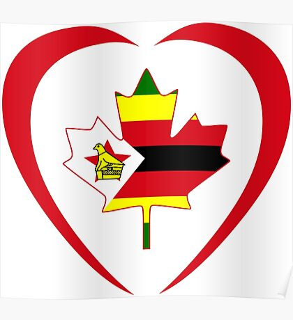 Zimbabwean Canadian Multinational Patriot Flag Series (Heart) Poster