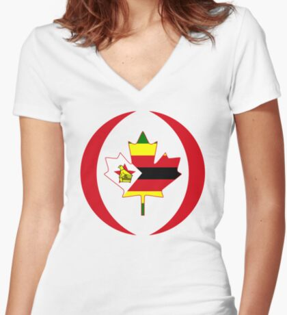 Zimbabwean Canadian Multinational Patriot Flag Series Fitted V-Neck T-Shirt