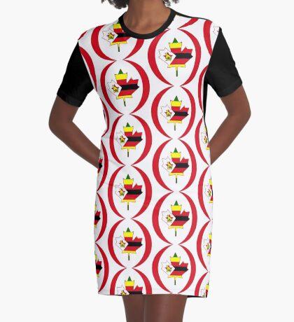 Zimbabwean Canadian Multinational Patriot Flag Series Graphic T-Shirt Dress