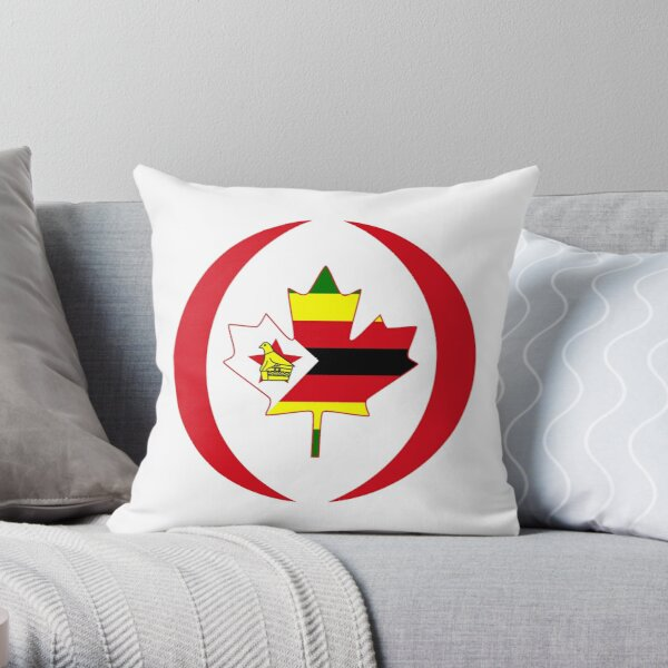 Zimbabwean Canadian Multinational Patriot Flag Series Throw Pillow