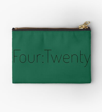 Four:Twenty 4:20 - Black with Green Zipper Pouch