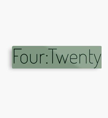 Four:Twenty 4:20 - Black with Green Metal Print