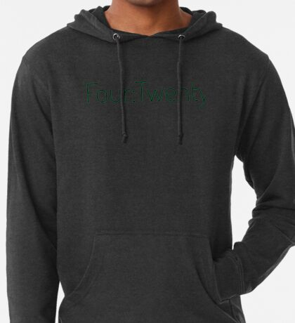 Four:Twenty 4:20 - Black with Green Lightweight Hoodie