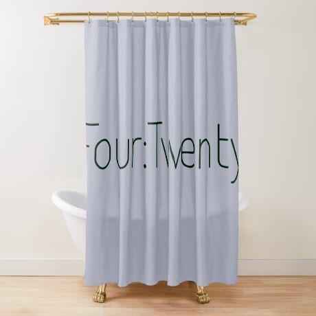 Four:Twenty 4:20 - Black with Green Shower Curtain