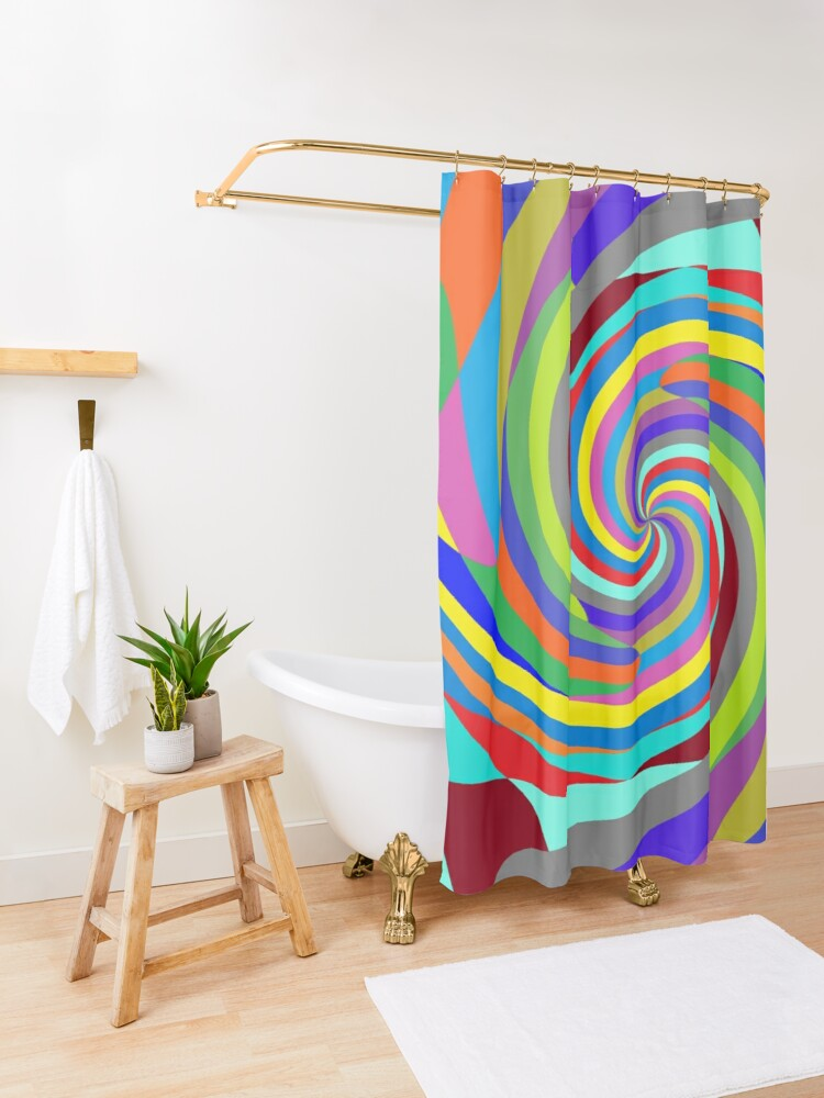Alternate view of Op art - art movement, short for optical art, is a style of visual art that uses optical illusions Shower Curtain