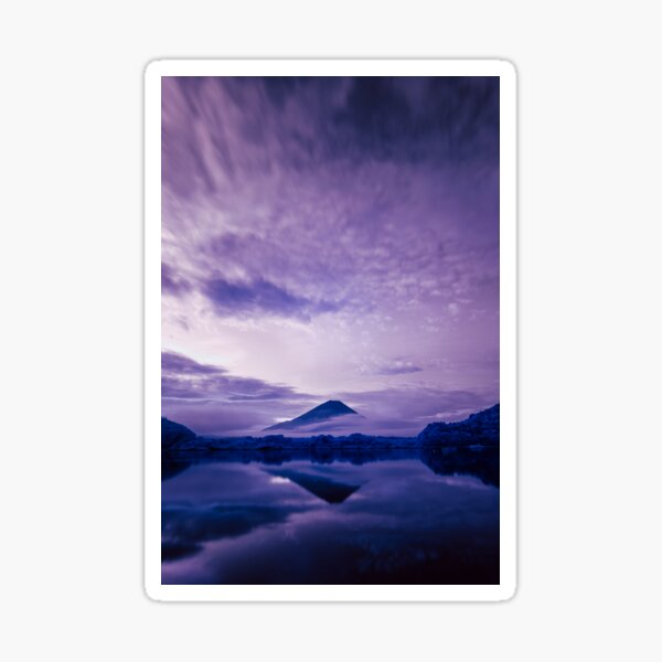 Mount Fuji under an infrared night sky Sticker